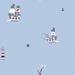 Milky Baby 422-2 Gemi Palmiye Desenli Çocuk Duvar Kağıdı (5 m²)