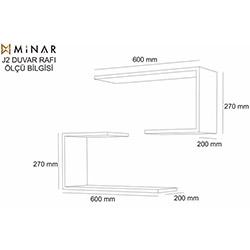 Minar J2 Duvar Rafı - Firuze