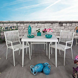 Vitale Zen Bahçe Masa Sandalye Seti - Beyaz