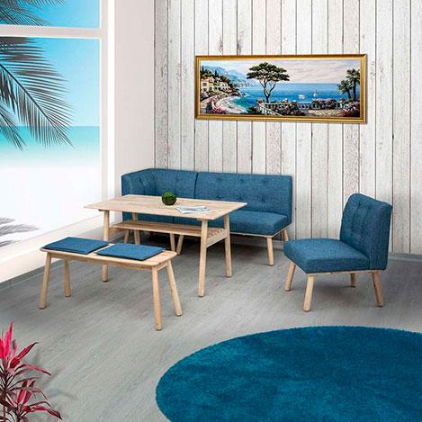 Vitale Corner Masa Sandalye Seti - Akçaağaç / Mavi