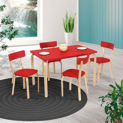 Vitale Tobi Kare Masa Sandalye Seti - Kırmızı / Akçaağaç