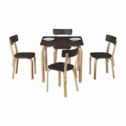 Vitale Tobi Kare Masa Sandalye Seti - Antrasit / Akçaağaç