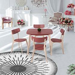 Vitale Eleen Masa Sandalye Seti (90x80) - Gül Kurusu / Akçaağaç