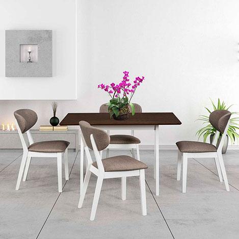 Resim  Vitale Bristol Masa Sandalye Seti - Ceviz / Beyaz