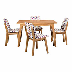 Vitale İlçin Masa Sandalye Seti - Akçaağaç / Renkli