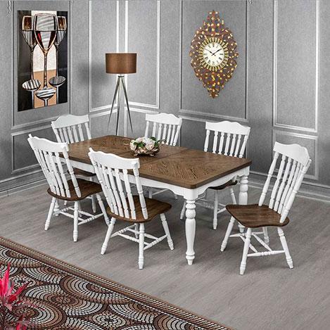 Resim  Vitale Family Masa Sandalye Seti - Ceviz / Beyaz