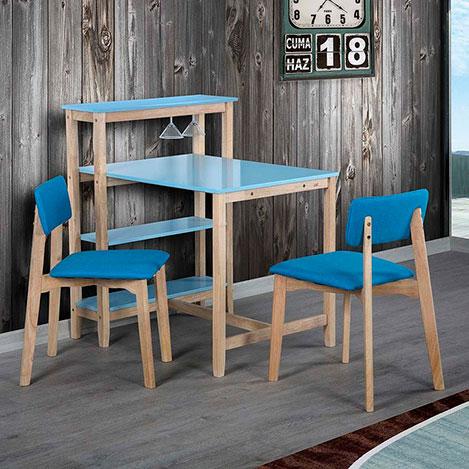 Vitale Omero Masa Sandalye Seti - Mavi / Akçaağaç