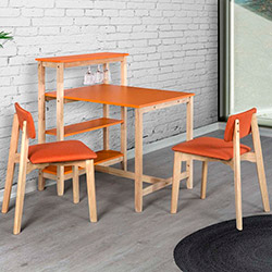 Vitale Omero Masa Sandalye Seti - Turuncu / Akçaağaç
