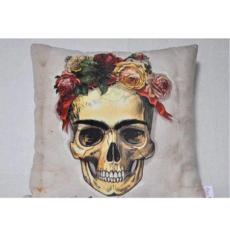 Resim  Nevresim Dünyası 3D Frida Kurukafa Kırlent Kılıfı - 43x43 cm