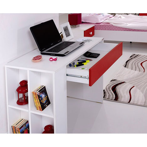 Alpino Red Genç Odası Bilgisayar Masası - Beyaz / Kırmızı