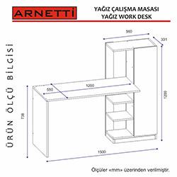 Arnetti Yağız Çalışma Masası - Beyaz