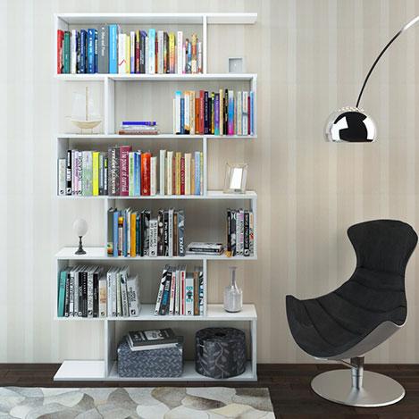 Eyibil Mobilya Yağmur 6 Raflı Modern Kitaplık - Beyaz