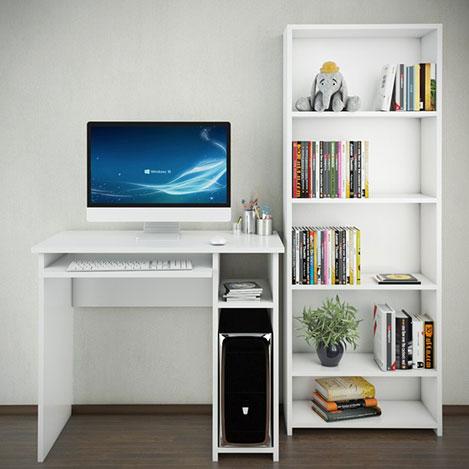 Resim  Eyibil Mobilya 2'li 5 Raflı Kitaplıklı Çalışma Masası - Beyaz