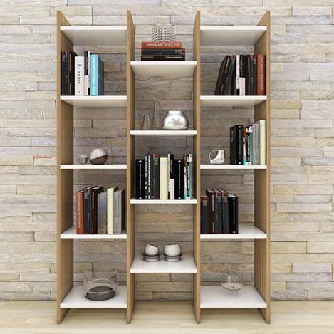 Resim  Eyibil Mobilya Rüzgar Modern Kitaplık - Ceviz / Beyaz