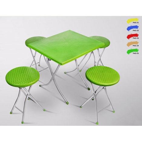 Resim  Güney Plastik 4+1 Katlanır Piknik Seti - Yeşil