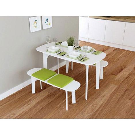 Resim  House Line Ebru Banklı Yemek Masası Takımı - Beyaz / Yeşil