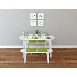 House Line Ebru Banklı Yemek Masası Takımı - Beyaz / Yeşil
