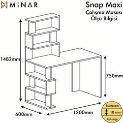 Minar Snap Maxi Çalışma Masası  - Beyaz / Kırmızı / Siyah