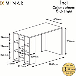 Minar İnci Çalışma Masası - Beyaz