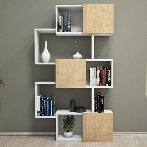 House Line Cool Kapaklı Kitaplık - Beyaz / Meşe