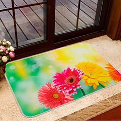 Home De Bleu Gerber Flowers Banyo Paspası - 50x70 cm