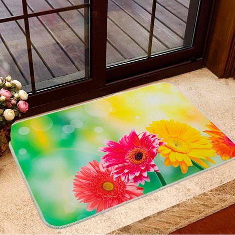 Resim  Home De Bleu Gerber Flowers Banyo Paspası - 50x70 cm