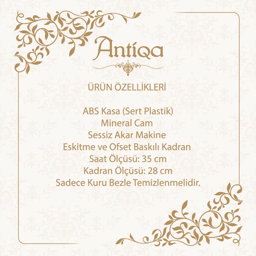 AntiQa ASC144 French Sytle Camlı Duvar Saati - 35x35 cm