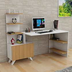 Çekmeceli ve raflı masa-kitap - küçük daireler için konforlu mobilyalar