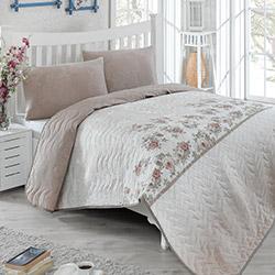 Eponj Home Lustro Çift Kişilik Yatak Örtüsü Takımı - Kahverengi