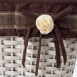 Cosiness Dikdörtgen Hasır Çamaşır Sepeti - Beyaz