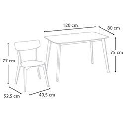 Vitale Eleen Masa Sandalye Seti (120x80) - Lavanta / Akçaağaç