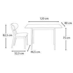 Vitale Bristol Masa Sandalye Seti - Ceviz / Beyaz