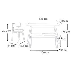 Vitale Seven Banklı Masa Sandalye Seti - Akçaağaç / Sarı