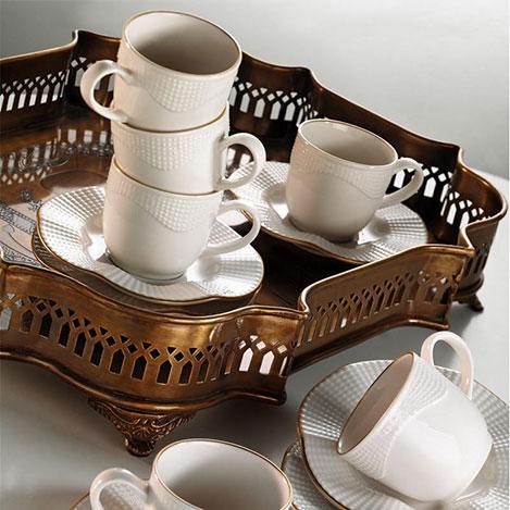 Resim  Kütahya Porselen Mitterteich Milena 6 Kişilik Çay Fincan Takımı - Krem