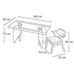 House Line Mimoza Masa Sandalye Takımı - Şeffaf / Sarı / Ceviz
