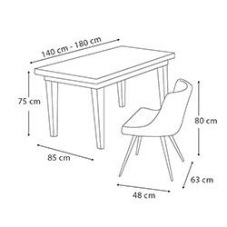 House Line Petunya Masa Konsol Sandalye Takımı - Eskitme / Mercan