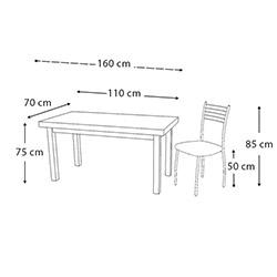 Kristal TK-24-WNG/4 Yemek Masası Takımı (4 Sandalyeli) - Venge