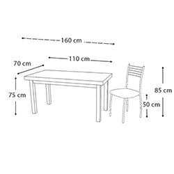 Kristal TK-24-SMB/4 Yemek Masası Takımı (4 Sandalyeli) - Samba