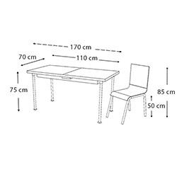 Kristal TK-14/4 Güllü Yandan Açılır Cam Masa Takımı (4 Sandalyeli) - Beyaz / Renkli