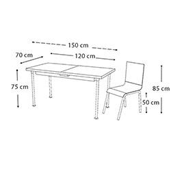 Kristal TK-76/6 Çiçekli Ortadan Açılır Cam Masa Takımı (6 Sandalyeli) - Ceviz