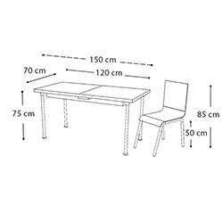 Kristal TK-85/6 Kahve Sümbül Ortadan Açılır Cam Masa Takımı (6 Sandalyeli) - Beyaz / Renkli
