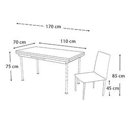 Kristal Yeni Dünya Monopetli 4 Sandalyeli Yandan Açılır Masa Takımı (70x110) - Beyaz