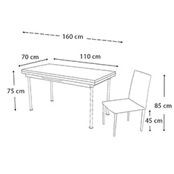 Kristal Olimpiyat Monopetli 6 Sandalyeli Yandan Açılır Masa Takımı (70x110) - Beyaz