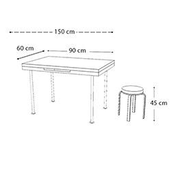 Kristal Kah Sümbül 4 Tabure Yandan Açılır Masa Takımı (60x90) - Beyaz