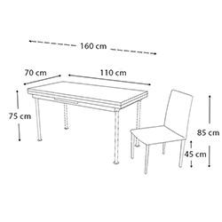 Kristal Gülpembe Monopetli 6 Sandalyeli Yandan Açılır Masa Takımı (70x110) - Beyaz
