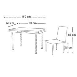 Kristal Monopetli 4 Sandalyeli Yandan Açılır Masa (60x90) - Beyaz