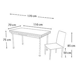 Kristal Yandan Açılır Krom Ayaklı Cam Masa ve 4 Sandalye Takımı - Cappuccino / Krem
