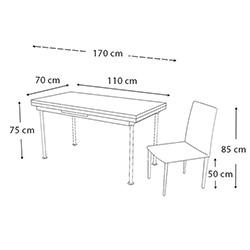 Kristal Yandan Açılır Krom Ayaklı Cam Masa ve 6 Sandalye Takımı - Cappuccino / Krem