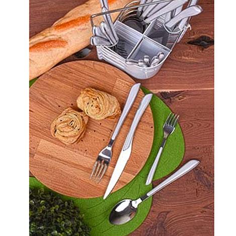 Resim  Keramika 0227 24 Parça Çelik Çatal Kaşık Bıçak Takımı - Beyaz