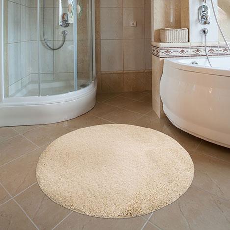 Confetti Firuze Yuvarlak Banyo Halısı (Ekru) - 100x100 cm